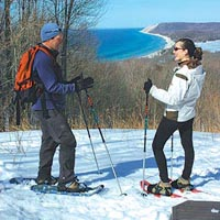 Snowshoeing at Sleeping Bear Dunes National Lakeshore.
